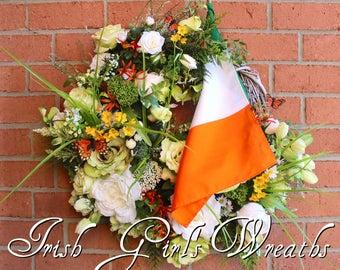 Irish Wreath, Summer Wreath, Cottage Garden Wreath, Spring Wreath, Patricks Wreath, Ireland Flag, Everyday Wreath, door Hanging, Floral