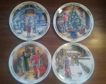 "Complete set of 4 Royal Doulton ""Family Christmas"" Collector Plates~ 1989-91 ~ English China"