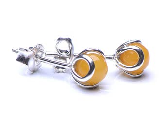 Butterscotch Baltic Amber & Sterling Silver Stud Earings - Genuine Baltic Amber Earings