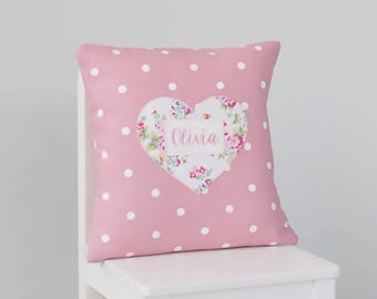 New Baby Girl Gift, Personalised Cushion, Personalized Pillow, Embroidered Name Cushion, Birth Gift, Embroidered