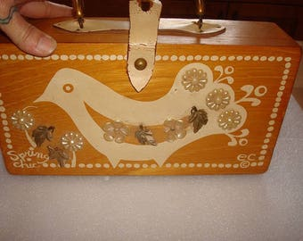 The Original Box Bag 1965 Enid Collins Jeweled Spring Chic Wooden Box Bag Purse With Bakelite Handle Signed Original
