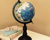Reserved for Maura Vintage Globe Pedestal Globe World Globe with Stand