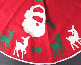 Felt Tree Skirt Vintage Mid Century Santa and Reindeer