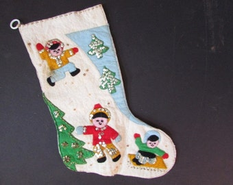 Vintage Christmas Stocking Winter Scene Felt and Sequin Stocking