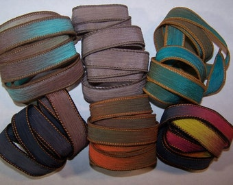 Discontinued/Experimental Ribbons/ Sassy Silks Hand Painted/Dyed Ribbons  Lot 100-0726