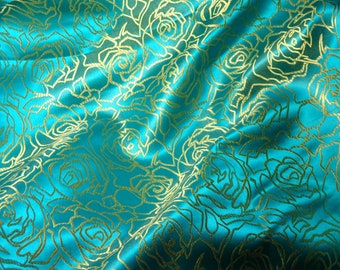 Satin brocade fabric - ONE yard of turquoise satin brocade with a floral pattern in gold, turquoise brocade, turquoise and gold - 1 yd.