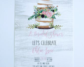 BRIDAL SHOWER INVITATIONS  - Rustic with Wedding Cake