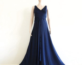Navy Blue Prom Dress.Navy Blue Maxi Dress