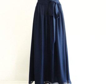 Navy Blue Maxi Skirt. Navy Blue Bridesmaid Skirt. Long Chiffon Skirt. Evening Skirt. Navy Blue Floor Length Skirt.