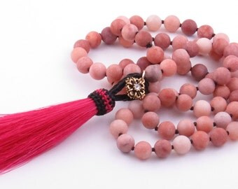 Long Rustic Agate Necklace Bright Pink Tassel Necklace Western Necklace Cowgirl Necklace