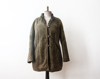 Vintage 1960s Shearling Green Coat Warm SheepSkin Jacket Outerwear Sherpa OverCoat Classy