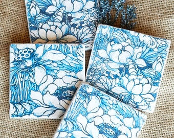Blue and White- Blue and White Decor- Blue and White Coaster, Blue and White Floral Decor, Blue Tile, Backsplash Tile, Blue Decor, Classic