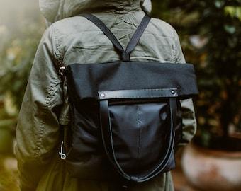 CHAMELEON Black bag / handbag and backpack in one bag / crossbody bag / backpack / tote bag / natural leather handles and removable strap
