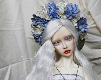 Blue Blues flower handmade headband wreath corolla for bjd dollfie sd 8-10 inch size dolls heads