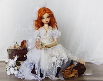Little Daisy OOAK dress set clothing for bjd slim msd mnf minifee a-line m-line moe dollfie dolls size fantasy lace romantic style