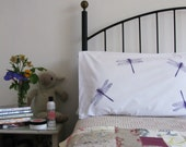 Pillow cases, Set of Two, hand printed, random dragonfly design