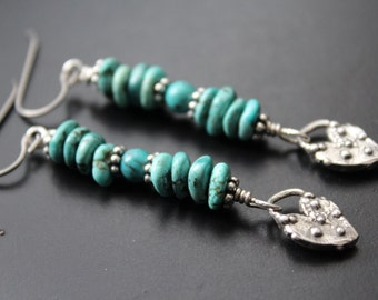 Turquoise and artisan heart earrings sterling heart earrings beach boho long earrings genuine turquoise jewelry Bali sterling earrings