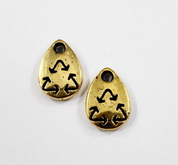 Gold Recycle Charms 10x6mm Antique Gold Recycle Symbol Charms, Metal Charms, Tiny Recycle Pendants, Craft Supplies, Earth Day Charms, 12pcs