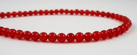 "15"" Strand Red Stone Beads 4mm Round Jade Beads, Small Red Jade Gemstone Beads Dyed Candy Jade Mountain Jade Beads Full Strand with 88 Beads"