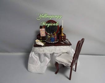 1/12th dollhouse miniature Dressed Mahogony Dressing Table and Chair