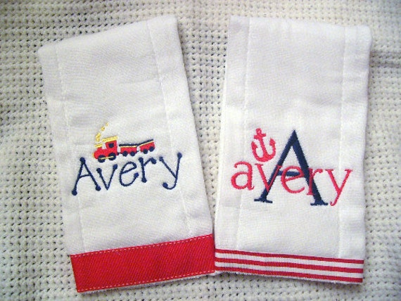 Set of 2 Personalized Monogrammed Burp Cloths for Him or Her