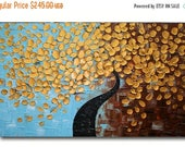 Sale Only for Kelly - Original Modern  Gold Tree  Acrylic  Impasto Textured  Palette Knife  Painting .