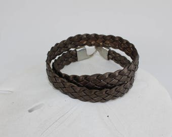 Flat Braided Leather Double Wrap Bracelet