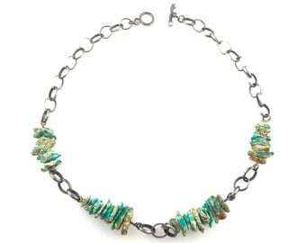 Pilot Mountain Turquoise Nugget Necklace , handmade silver chain and toggle clasp.