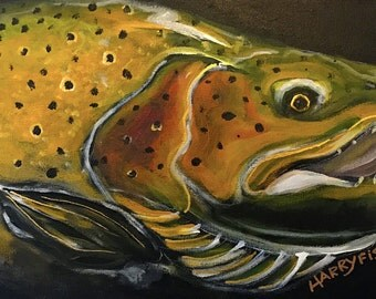 "Big Bad Brownie, 12"" x 24"" Original Painting on Canvas"