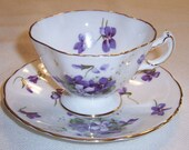 Hammersley England VICTORIAN VIOLETS Demitasse Cup and Saucer