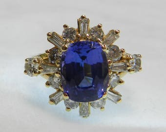 Tanzanite Ring 14K Vintage Diamond Tanzanite Engagement Ring 2.5 Ct Tanzanite 14K Gold Genuine Diamond halo December Birthday Gift