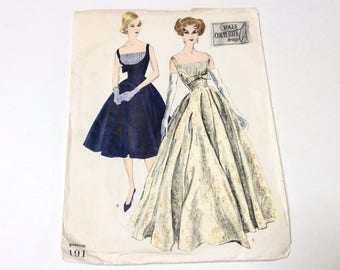 Vintage Vogue Evening Gown Pattern, Vogue Couturier 191, Gorgeous Gown with Shirred Bust, Size 14, Uncut, 1950s