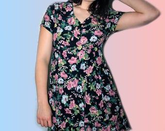 90s Little Black Floral Mini Dress