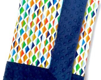 Modern Baby Minky Blanket- Michael Miller w/Navy Blue Minky Dot Fabric