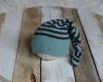 RTS Angora striped hat, Newborn boy or girl upcycled hat, Photography prop, sleepy top knot hat Ready to ship
