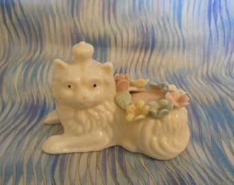 Vintage Bone China Cat Pin Cushion