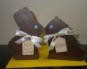Wood painted chocolate Easter Bunnies - Bunny
