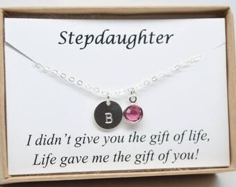 Personalized Stepdaughter gift necklace-birthday gift for stepdaughter-new stepdaughter wedding gift-stepmother for stepdaughter gift