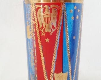 ON SALE Vintage Grorges Briard Patriotic Bar Glass, Barware, 22k Gold, Red, Blue, Stars, Eagle, Shield, Mid Century Modern