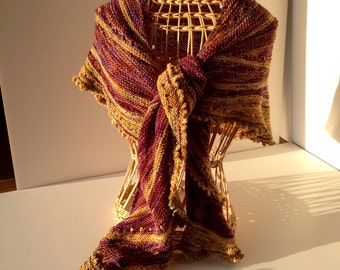 Handknit Luxury Shawl Scarf Koigu Merino Yarn Lovely