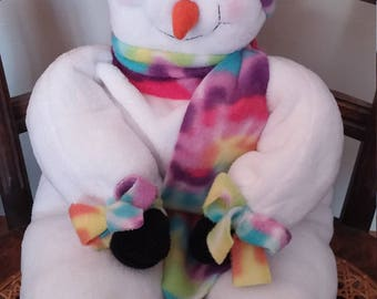 Floppy Snowman, Snowman Doll, Chair Sitting Snowman, Snowman Decoration, Whimsical Snowman