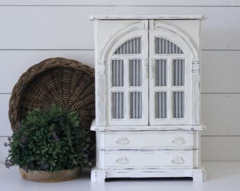 Large White Painted Jewelry Box . Farmhouse Bedroom . Fixer Upper Decor . Shabby Chic . Cottage Home . Blue Ticking Annie Sloan Chalk Paint