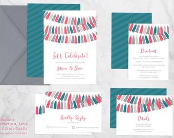 Tassels Garland Wedding Invitation Suite - Engagement, Birthday, Shower Invitation