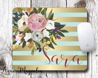 Watercolor Flowers - Mint & Gold - Personalized - Desk Accessory - Mouse Pad - Monogrammed - Paint Brush Flowers