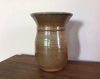 Stoneware vase rust glaze wheel thrown handmade vessel