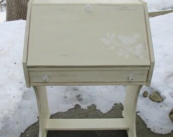 Petite, Vintage Secretary Desk with Bird Motif