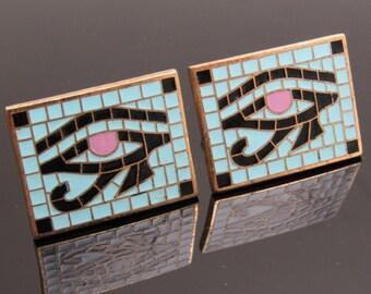 Vintage Enamel Eye of Horus Cufflinks Egyptian Mosaic Anson Jewelry H872