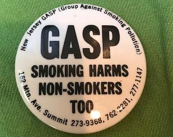Vintage 1980's GASP No Smoking Pin New Jersey