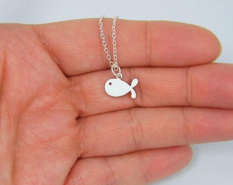 PENDANT ONLY Tiny Silver Fish Necklace - Dainty Everyday Jewelry Mini Fish Pendant |AJ1-10