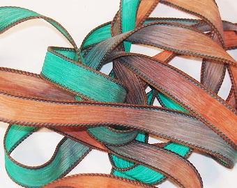 "FLUTTER 42"" hand dyed wrist wrap bracelet silk ribbon//Yoga wrist wrap bracelet ribbons//Silk wrist wrap ribbon// By Color Kissed Silk"